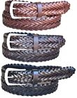 "Lejon - Mens Leather Braided Dress Belt 1-3/8"" Wide"