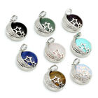 Fashion Gemstone Round Bead Hollow Silvery Alloy Star Moon Pendant Jewelry DIY