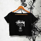 STUSSY SHIRT STUSSY WORLD TOUR SHIRT NEW LOGO TSHIRT WOMEN CROP TOP TEE AY_50B