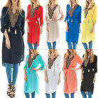 New Womens Diamond Neck Button Sleeved Tassel Bohemian Kaftan Dress Size 8 10 12