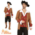 Adult Male Pirate Costume Mens Captain Jack Buccaneer Fancy Dress Outfit New