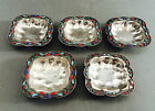 LOVELY SOLID SILVER SET OF 5 CLOISONNE DISHES