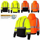 MEN'S MID-WEIGHT, ZIP UP, CLASS 3, SAFETY HOODIE, LIME ORANGE M L XL 2X 3X 4X 5X