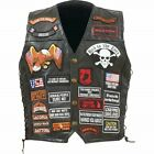 Mens Black Genuine Leather Motorcycle VEST w/ 42 Patches US