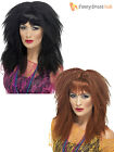 Ladies 80s Crimped Wig Adult Crimp Fancy Dress Accessory Black Brown 1980s Rock