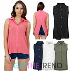 Womens New Crepe Sleeveless Split Back Collar Shirt Ladies Button Vest Slit Top