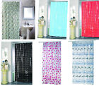 MSV 100% PVC Shower Curtain 180 x 200cm Stylish Bathroom Wetroom Curtain + Hooks