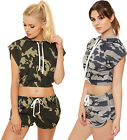 Womens Camouflage Co-Ord Set Ladies Hoodie Top Hot Pant Shorts Loungewear Suit