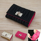 Women's Genuine leather Stitch quilted Medium size trifold wallet with turn lock