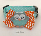 Minty Owl Dog Collar With Bow Size XS-L by Doogie Couture
