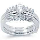 925 Sterling Silver Round Clear CZ Engagement 2 Ring 3 In 1 Band Set Size 3-11