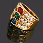 Rose Gold Plated Ruby Emerald Sapphire Swarovski Crystal Women Cocktail Ring R2