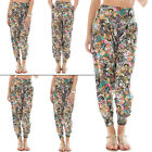 Womens Cartoon Graphic Ali Baba Harem Pants Trousers Plus Size S M 8 12 16 20 22