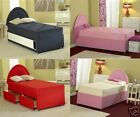 Red Kids Divan Bed Set with Mattress & Storage - 2FT6, 3FT & 4FT