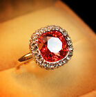 Rose Gold Plated Coral Red Women Cocktail Ring Made With  Swarovski Crystal R153