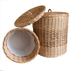 Lined Wicker Laundry Linen Basket Bin with Lid