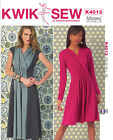 Kwik Sew 4013 V Neck Pullover Long Sleeves Cap Sleeve Dress Sewing Pattern K4013