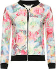 Womens Large Floral Bomber Jacket Ladies Print Long Sleeve Zip Stretch 8-14
