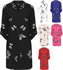 Womens Plus Butterfly Print Shirt Ladies Button Collar Side Slit Curved Hem Top