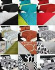 REVERSIBLE SOLID PRINTED QUILT BEDDING BEDSPREAD COVERLET PILLOW CASES SET 2/3PC image