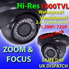 OUTDOOR DOME INFRARED VARIFOCAL BLACK CCTV CAMERA SONY HD 1000TVL 720P 1.3MP