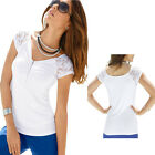 Summer Women Short Sleeve V-neck Lace Splice Zipper Tops Casual T-Shirt Blouse