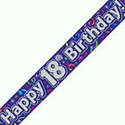 18th BIRTHDAY BANNER HOLOGRAPHIC 2.7MTRS LONG MESSAGE REPEATS THREE TIMES