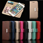 2in1 Detachable Magnetic Leather Flip Wallet Card Case Cover for iPhone/Samsung