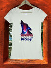 Galaxy Howling Wolf Watercolor Art Women Girls T shirt Top Tee W196