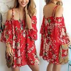 Sexy Women Boho Backless Off-shoulder Short Sleeve Tops Chiffon Loose Blouse New