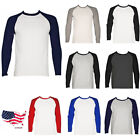 Long Sleeve Baseball T-Shirt Jersey 100% Cotton Raglan Tee M