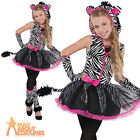 Zebra Costume Sassy Stripes Teen Child Halloween Fancy Dress Girls Zoo Outfit