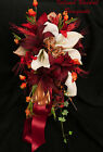 CELTIC RED ORANGE BRIDE WEDDING BOUQUET SET Red Roses Stargazer Lily 17 Piece