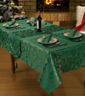 FOREST GREEN FESTIVE TABLE LINEN TABLECLOTHS, RUNNERS, NAPKINS, PLACEMAT