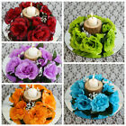 8 pcs Silk ROSES Flowers Candle Rings Wedding Tabletop Centerpieces Decorations