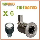 6 X FIRE RATED LED DOWNLIGHTS 240V MAINS GU10 FIXED 4W - 7W DIMMABLE