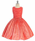 Cheap  Coral Sleeveless Rossette Bodice Flower Girl Dress