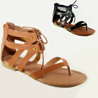 Women Sandals Shoes Gladiator Thong Flops Lace Up Flip Flat Size Strappy Toe 203