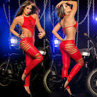 Sexy Lingerie  Backless Leather Jumpsuit Hollow Steel Tube Dance Leotard