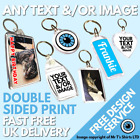 Custom Printed Keyring Personalised Birthday Wedding Photo Logo Bespoke Keyrings