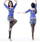 New Women Belly Dancing Costume Dress Practice Flower Prints One Size