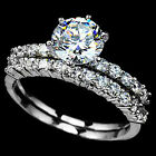 925 Sterling Silver Solitaire Clear CZ Wedding Bridal 2 in 1 Ring Set Size 3-11