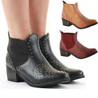 Ladies Retro Low Heel Shoes Short Booties Mid Winter Chelsea Ankle Boots Size