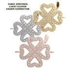 Cubic Zirconia Crystal Open Heart Clover Paved Bracelet connector Charm Plated
