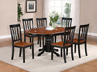 Avon 7 Pieces dining table set-Oval Table with Leaf and 6 Solid Dining Chairs