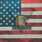 "Kydex Infused Spartan Molon Labe on Old Glory Flag 7 7/8"" X 7 7/8"" W/Blk Kydex"