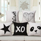 "Black White Simple Fashion 18""x45cm Decor Cotton Linen Cushion cover Pillowcase"