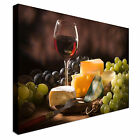 Glass Red Wine Cheese And Garnishes Canvas Wall Art prints high quality