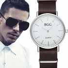 Fashion BGG Men's Quartz Leather Band Analog Sport Army Wrist Watch Waterproof