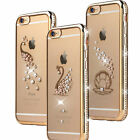 Crystal Diamond Bling TPU case plating peacoke Soft cover for iphone 6 6S plus